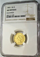 NGC CERTIFIED 1852 $2.50 GOLD QUARTER EAGLE COIN