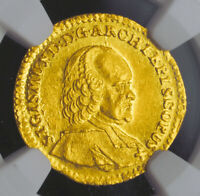 1755 SALZBURG COUNT HIERONYMUS COLLOREDO.  GOLD  DUCAT COIN. NGC MS63