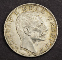 1915 KINGDOM OF SERBIA PETER I. ATTRACTIVE SILVER 2 DINARA COIN. XF AU