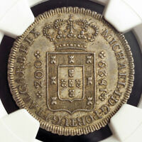 1829 KINGDOM OF PORTUGAL MIGUEL I.SILVER 200 REIS  12 VINTENS  COIN.NGC MS62