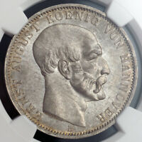 1848 HANNOVER ERNEST AUGUSTUS I. BEAUTIFUL SILVER THALER COIN. NGC MS 64
