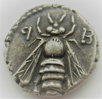 ANCIENT PHOENICIAN SILVER DRACHM COIN BEE AND STAG