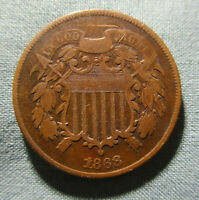 1868 2 CENT PIECE   US TWO CENTS 2C COIN