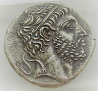 UNRESEARCHED ANCIENT GREEK AR SILVER TETRADRACHM COIN 16.48G