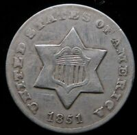 1851 O THREE CENT SILVER BETTER DATE