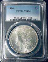 1896 P MORGAN SILVER DOLLAR PCGS MINT STATE 64 BEAUTIFUL BLAST WHITE COIN BV $80