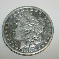 1881 MORGAN SILVER DOLLAR LIGHTLY CLEANED