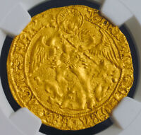 1502 ENGLAND HENRY VII.  GOLD ANGEL COIN. PROBLEM FREE  NGC AU 55