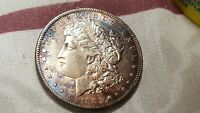 1885 S MORGAN DOLLAR AU   LUSTER UNDERLIES EX DEVICES AND CLEAN FIELDS