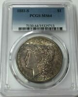 1881-S PCGS MINT STATE 64 MORGAN SILVER DOLLAR  TONING MINT STATE 64 713