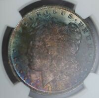 1885-O NGC SILVER MORGAN DOLLAR MINT STATE 63 RAINBOW TONED OBVERSE ELECTRIC BLUE LUSTER