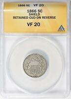 1866 SHIELD NICKEL RETAINED CUD ON REVERSE ANACS VF-20