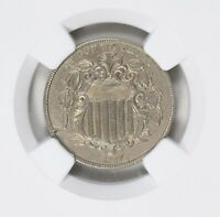1867 SHIELD NICKEL WITH RAYS OBVERSE RETAINED DIE BREAK NGC AU DETAILS