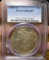 1890-O MORGAN SILVER DOLLAR $1, PCGS MINT STATE 63PL PROOF LIKE VAM-7A SPIKED NECK