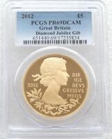 2012 BRITISH DIAMOND JUBILEE 5 FIVE POUND SILVER GOLD PROOF COIN PCGS PR69 DCAM