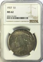 1927-P NGC MINT STATE 62 PEACE SILVER DOLLAR LITE GOLDEN TONING MINT STATE 62 042