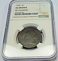 1794 FLOWING HAIR LARGE ONE CENT 1C.  NGC AG DETAILS REV DAMAGE