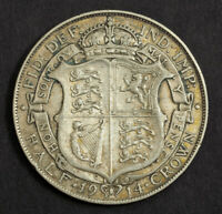 1914 GREAT BRITAIN GEORGE V. LARGE SILVER 1/2 CROWN COIN. VF