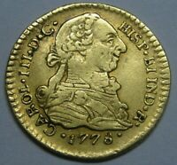 1778 POPAYAN 1 ESCUDO CHARLES III COLOMBIA SPAIN DOUBLOON COLONIAL ERA GOLD