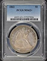 1862 $1 LIBERTY SEATED DOLLAR PCGS MINT STATE 62