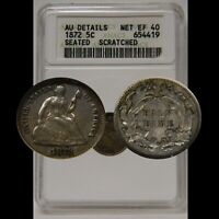 1872 SEATED HALF DIME ANACS AU DETAILS SMALL WHITE HOLDER OLD HOLDER