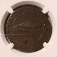 1815 CANADA ONE PENNY MAGDALEN ISLAND LC 1 NGC MS VF 30 BN