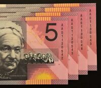 4 X CONSECUTIVE 2001 FEDERATION $5 NOTES    AA01    FIRST PR