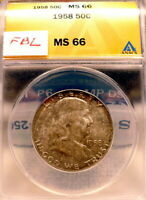 1958-P FRANKLIN HALF DOLLAR ANACS MINT STATE 66, FULL BELL LINES,  TONED B968