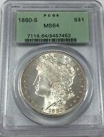 1880-S PCGS MINT STATE 64 MORGAN SILVER DOLLAR OGH BLAST WHITE MINT STATE 64 452