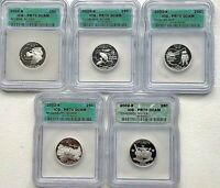 2002 S SILVER STATE QUARTERS   SET OF  5     ALL ICG PR70 DC