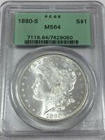 1880-S PCGS MINT STATE 64 MORGAN SILVER DOLLAR OGH BLAST WHITE MINT STATE 64 050