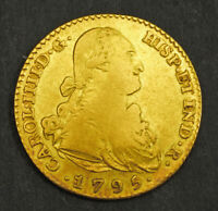 1795 KINGDOM OF SPAIN CHARLES IV. GOLD 2 ESCUDOS COIN.  6.63