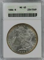 1886-P ANACS SILVER MORGAN DOLLAR MINT STATE 65 WHITE SOAPBOX HOLDER GREAT LUSTER