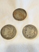LOT OF 3 MORGAN SILVER DOLLAR COINS 1880-O 1884 1890-O EXACT COINS SHOWN