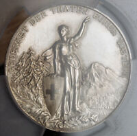 1892 SWITZERLAND GLARUS  CANTON . LARGE SILVER SHOOTING MEDAL. PCGS SP 63