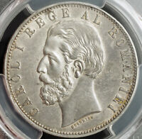 1883 ROMANIA  KINGDOM  CAROL I. BEAUTIFUL LARGE SILVER 5 LEI COIN. PCGS AU 53
