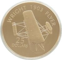 2005 HISTORY OF POWERED FLIGHT WRIGHT FLYER $25 SILVER GOLD