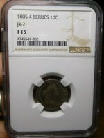 1805 DRAPED BUST SILVER DIME, 4 BERRIES, NGC F-15, CERTIFIED
