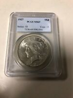 1927 PEACE DOLLAR MINT STATE 63 PCGS