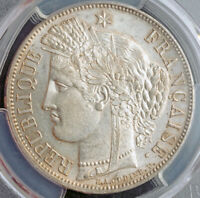 1850 FRANCE  2ND REPUBLIC . BEAUTIFUL LARGE SILVER 5 FRANCS COIN. PCGS AU 58