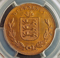 1934 GUERNSEY  BRITISH DEPENDENCY . LARGE COPPER 8 DOUBLES COIN. PCGS MS 64 RB