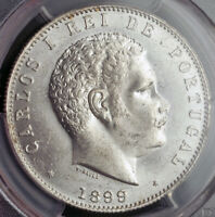 1899 KINGDOM OF PORTUGAL CHARLES I. LARGE SILVER 1000 REIS COIN. PCGS MS 62