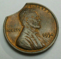 1934 P LINCOLN WHEAT CENT / PENNY   AU - ABOUT UNCIRCULATED  CLIPPED PLANCHET