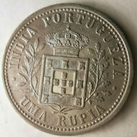 1904 PORTUGUESE INDIA RUPEE   AU   SUPER RARE SILVER CROWN C