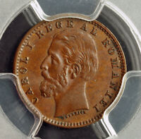 1900 ROMANIA  KINGDOM  CAROL I. BEAUTIFUL COPPER BAN COIN. PCGS MS 62