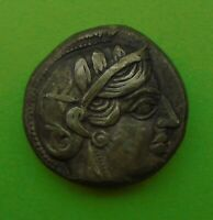 ANCIENT GREEK AR SILVER TETRADRACHM COIN ATHENA ATHENS ATTIC