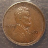 1921 LINCOLN WHEAT CENT, AWESOME DETAILS, EVEN TONING, ANACS GRADED AU58