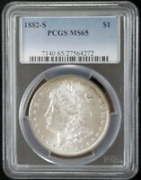 1882 S MORGAN SILVER DOLLAR $1 PCGS MINT STATE 65 MD502