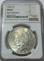 1926-P NGC MINT STATE 63 PEACE SILVER DOLLAR GOLDEN TONING MINT STATE 63 013