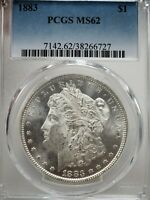 1883 $1 MORGAN SILVER DOLLAR COIN PCGS MINT STATE 62  6727
